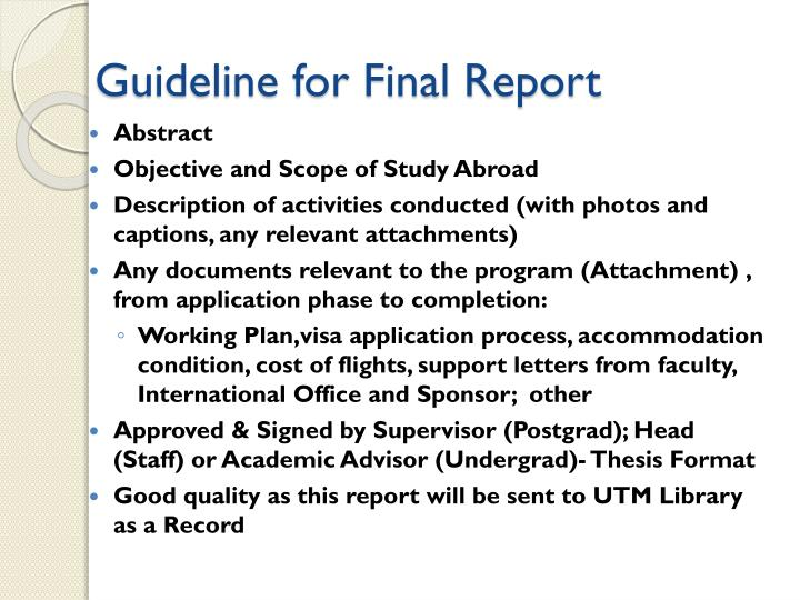 Guideline for Final Report