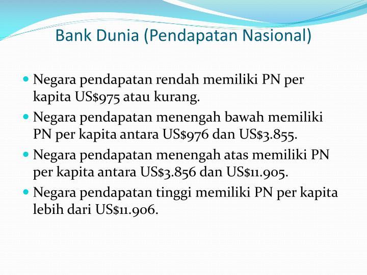 Bank Dunia (Pendapatan Nasional)