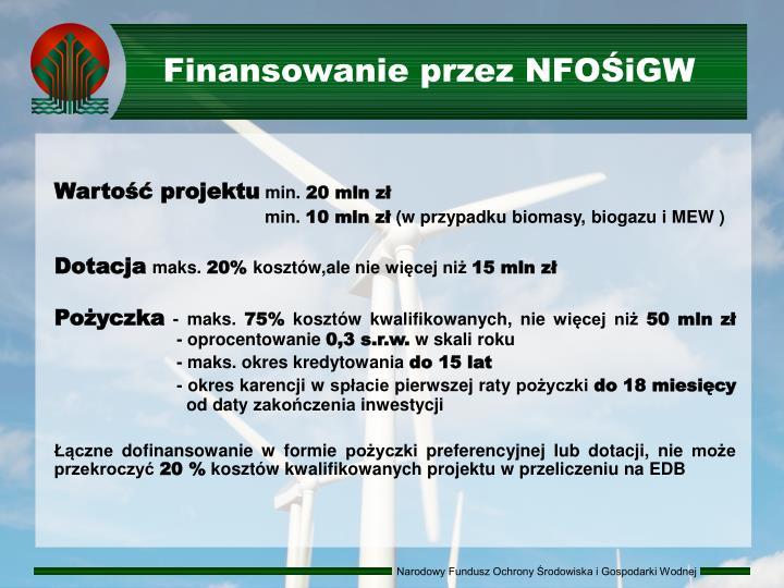 Finansowanie przez NFOŚiGW