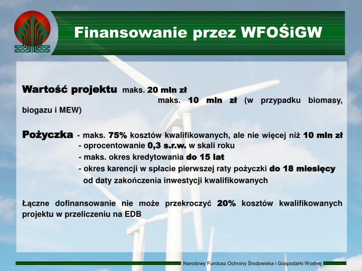 Finansowanie przez WFOŚiGW