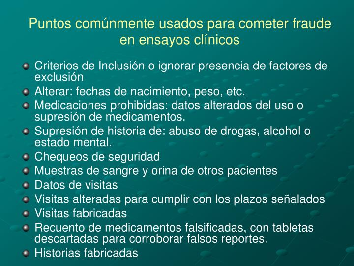 Puntos comúnmente usados para cometer fraude en ensayos clínicos
