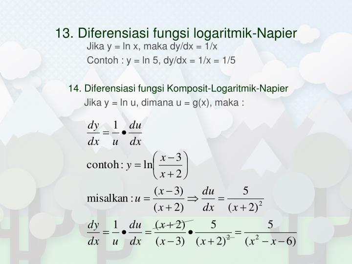 13. Diferensiasi fungsi logaritmik-Napier
