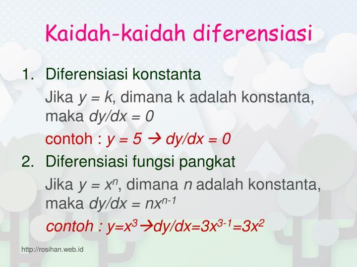 Kaidah-kaidah diferensiasi