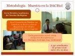 metodolog a muestra en la dacbiol