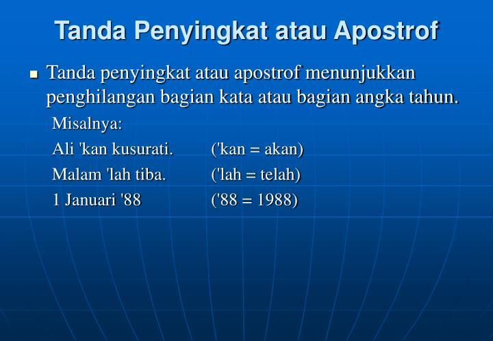 Tanda Penyingkat atau Apostrof