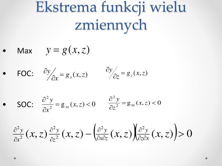 Ekstrema funkcji wielu zmiennych