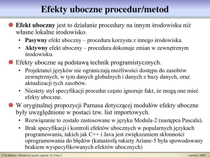 Efekty uboczne procedur/metod