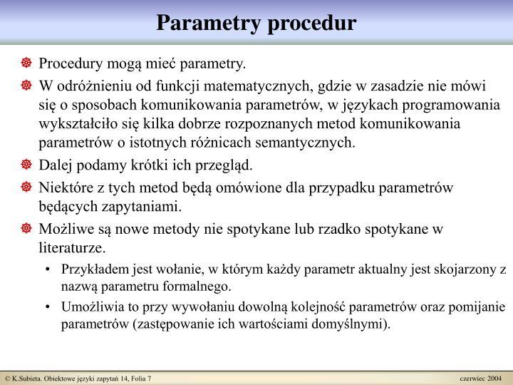 Parametry procedur