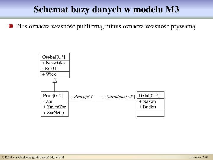 Schemat bazy danych w modelu M3