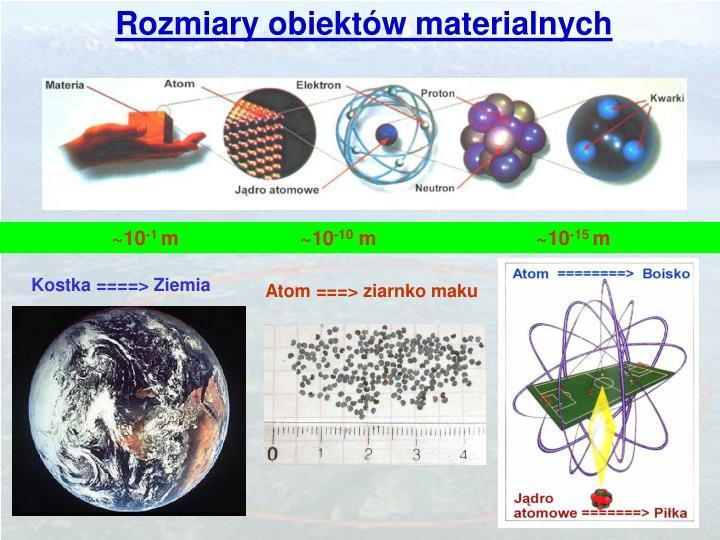 Rozmiary obiektów materialnych