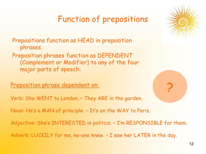 Function of prepositions
