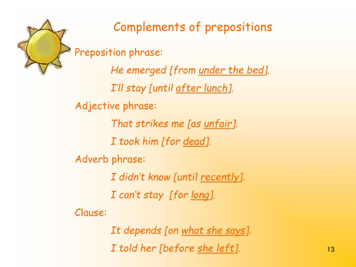 Complements of prepositions