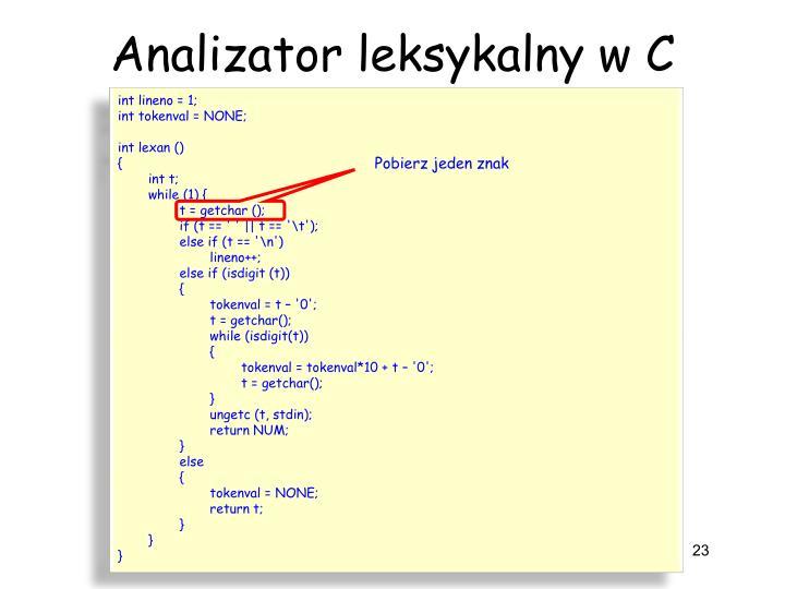Analizator leksykalny w C