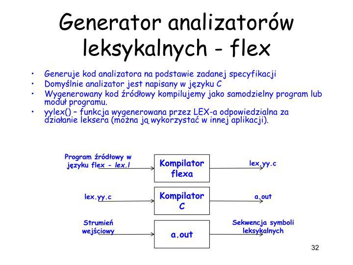 Generator analizatorów leksykalnych - flex