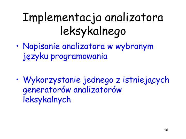 Implementacja analizatora leksykalnego