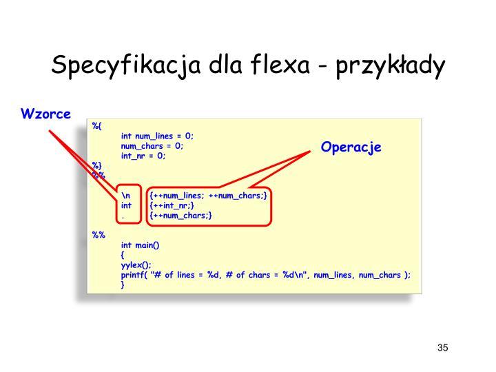 Specyfikacja dla flexa - przykłady