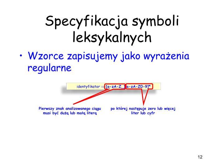 Specyfikacja symboli leksykalnych