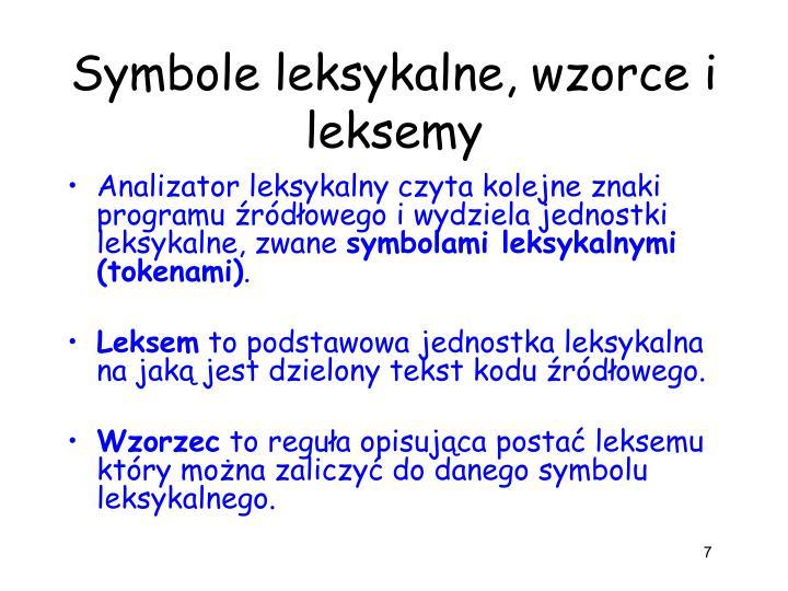 Symbole leksykalne, wzorce i leksemy