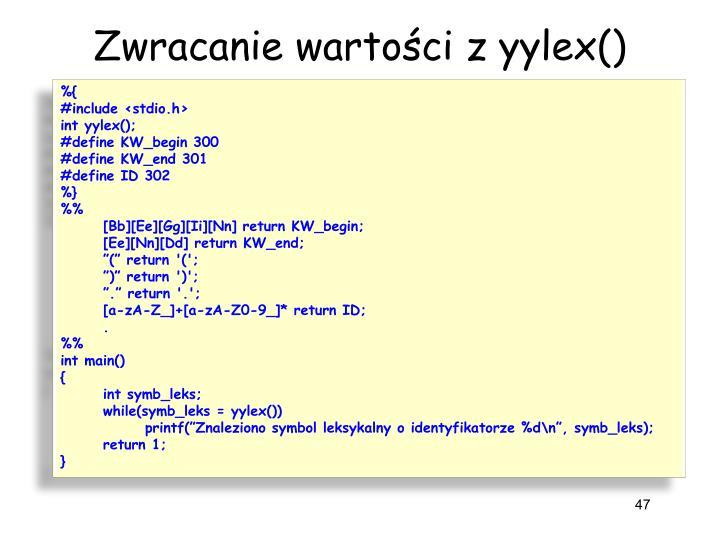 Zwracanie wartości z yylex()