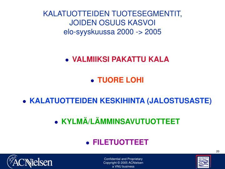 KALATUOTTEIDEN TUOTESEGMENTIT,                                 JOIDEN OSUUS KASVOI                                                           elo-syyskuussa 2000 -> 2005