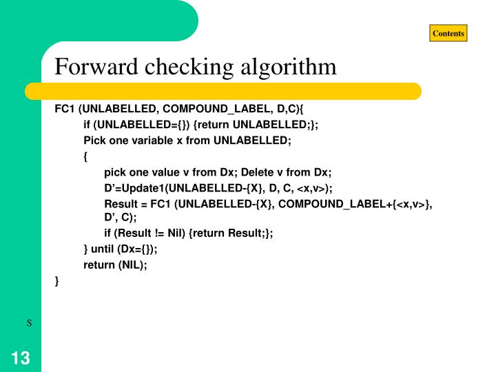 Forward checking algorithm