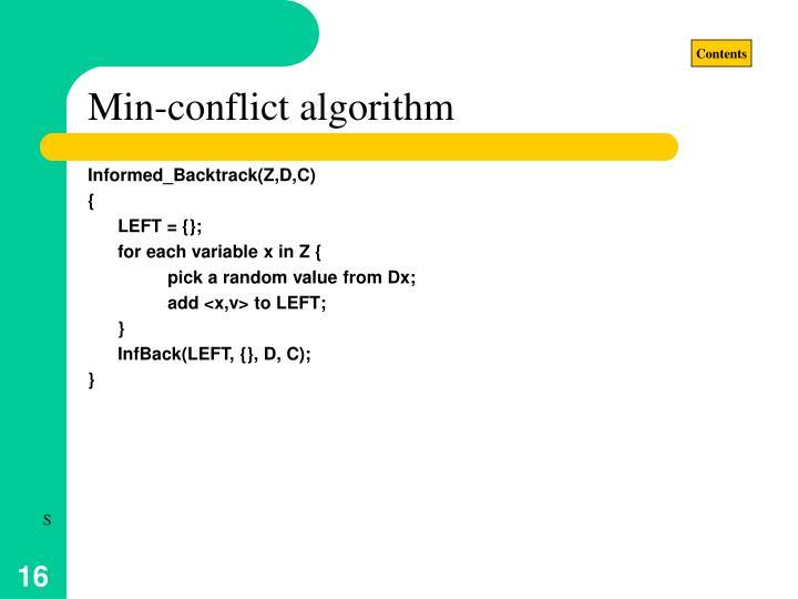 Min-conflict algorithm