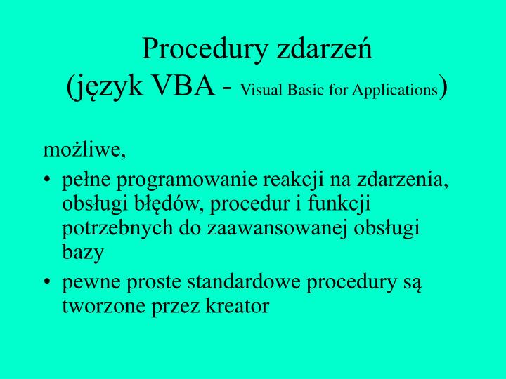 Procedury zdarzeń