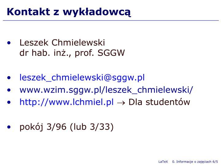 Kontakt z wykładowcą