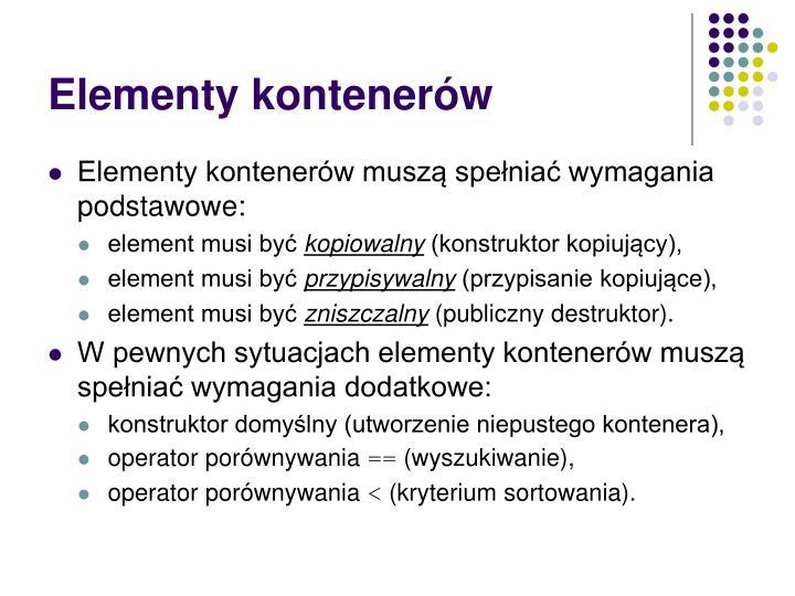 Elementy kontenerów