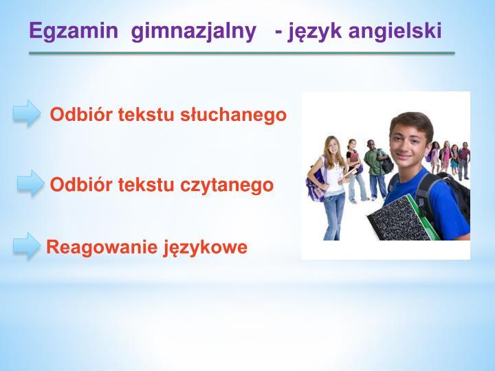 Egzamin  gimnazjalny   - język angielski