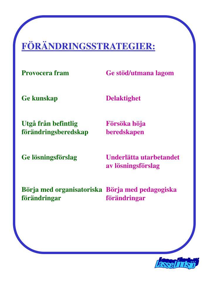 FÖRÄNDRINGSSTRATEGIER:
