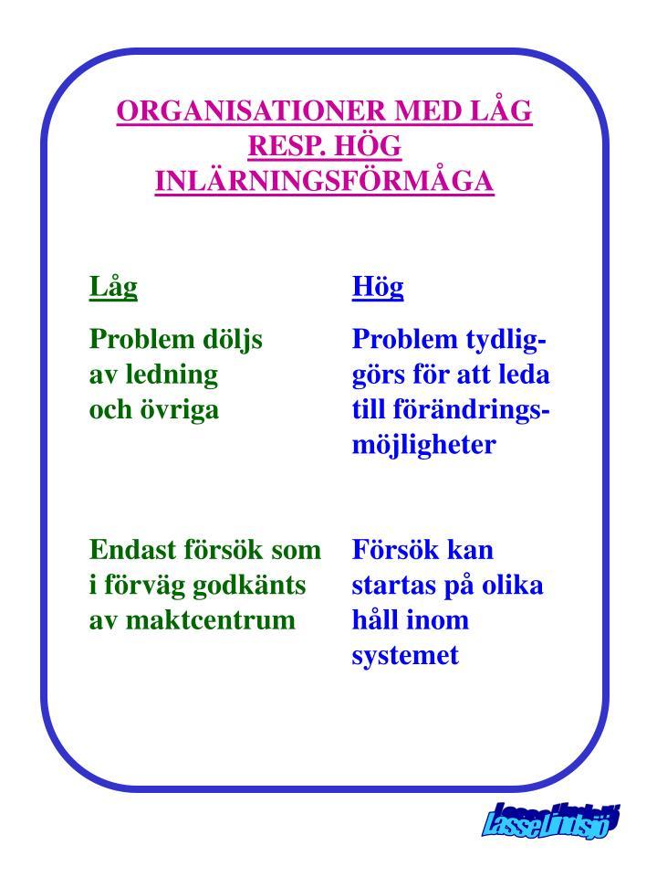 ORGANISATIONER MED LÅG RESP. HÖG INLÄRNINGSFÖRMÅGA