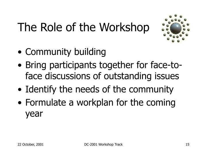 The Role of the Workshop