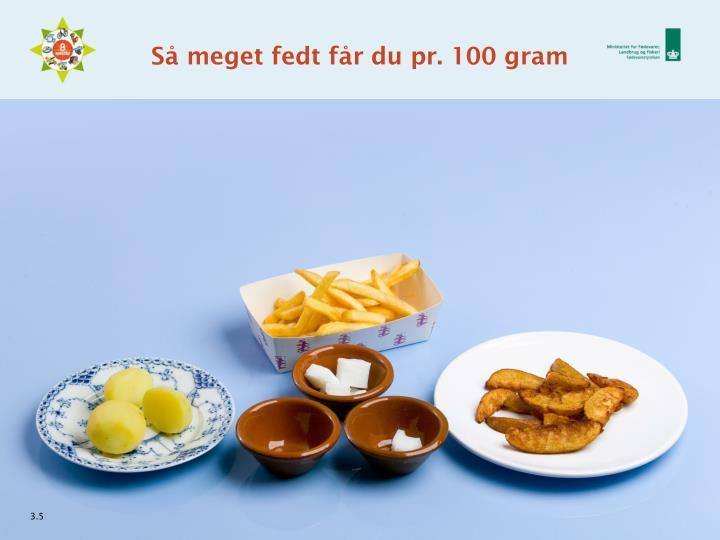 Så meget fedt får du pr. 100 gram