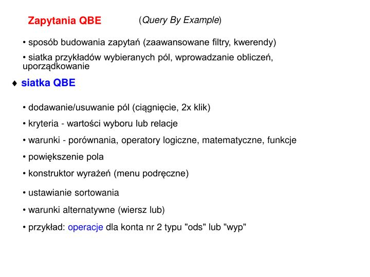 Zapytania QBE