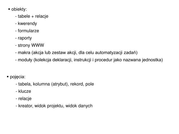 obiekty: