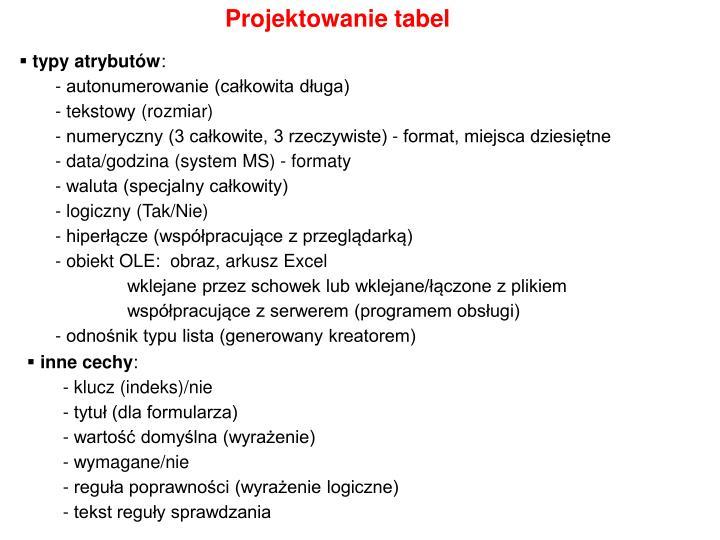 Projektowanie tabel