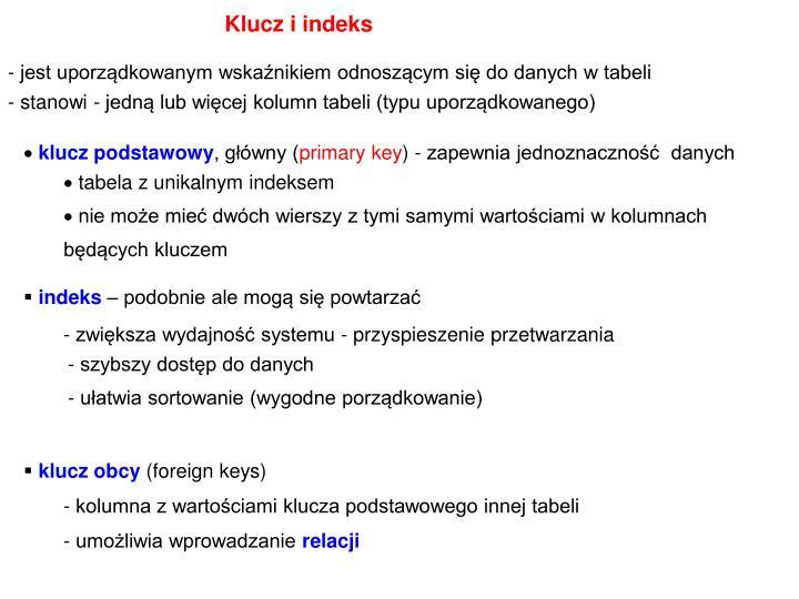Klucz i indeks