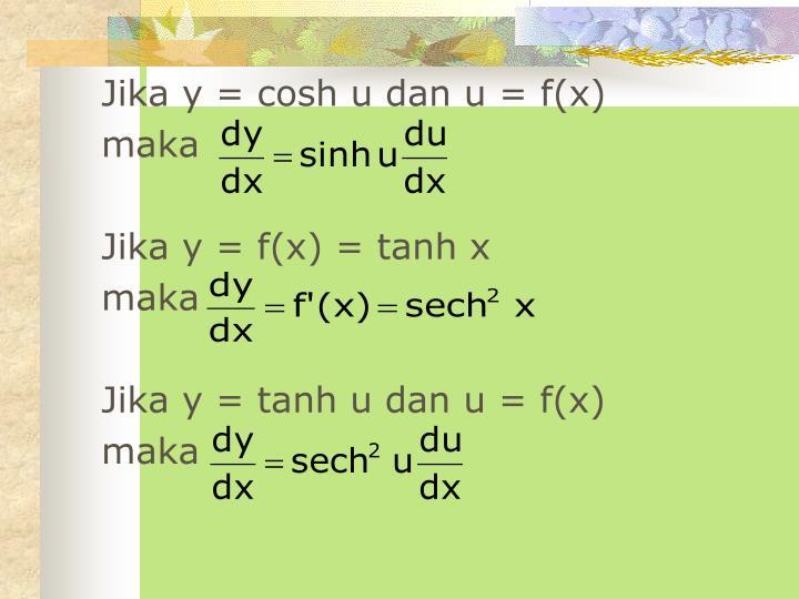 Jika y = cosh u dan u = f(x)