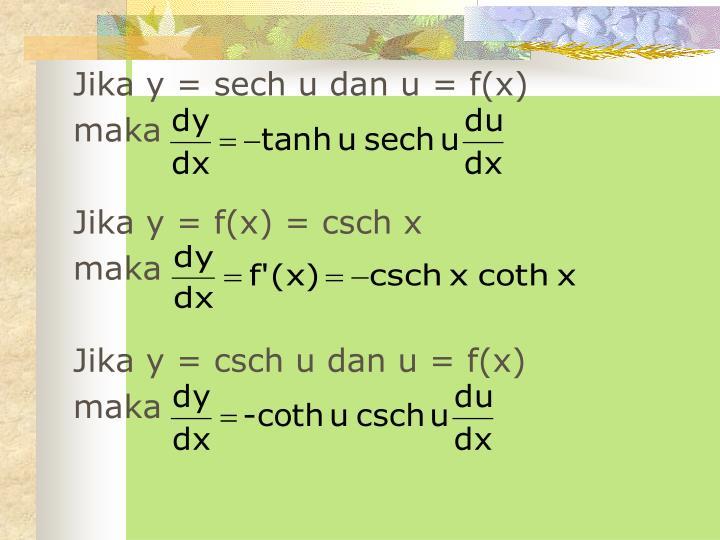 Jika y = sech u dan u = f(x)