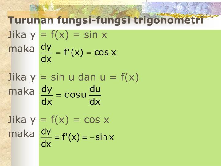 Turunan fungsi-fungsi trigonometri