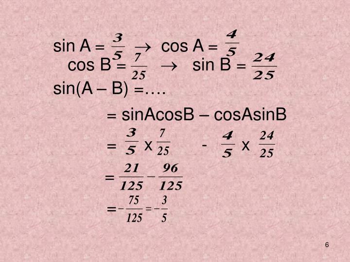 sin A =