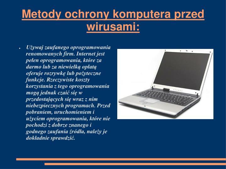 Metody ochrony komputera przed wirusami: