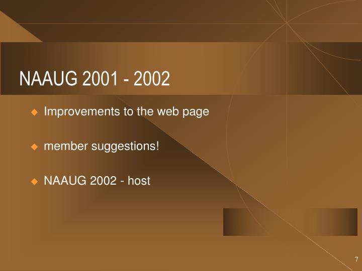 NAAUG 2001 - 2002