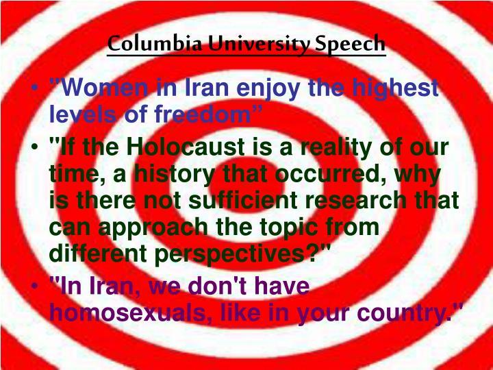 Columbia University Speech