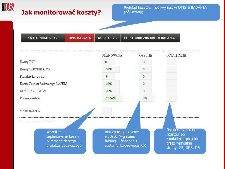 Jak monitorować koszty?