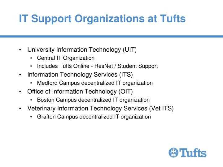 IT Support Organizations at Tufts