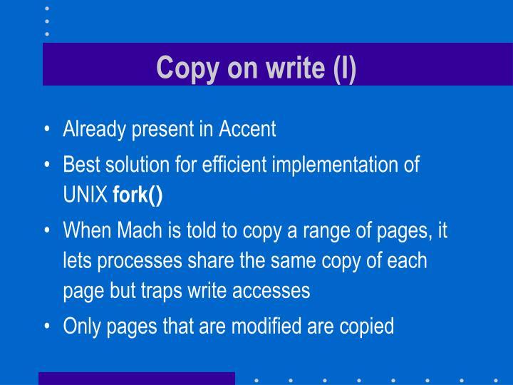 Copy on write (I)