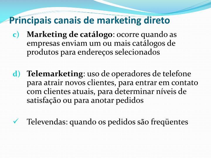 Principais canais de marketing direto
