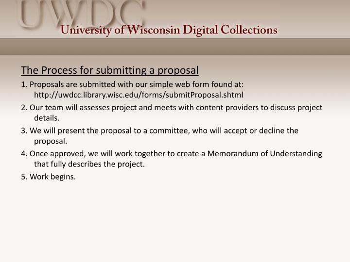 The Process for submitting a proposal
